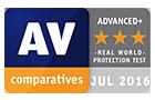 AV-Comparatives Advanced+ real world protection test award - July 2016