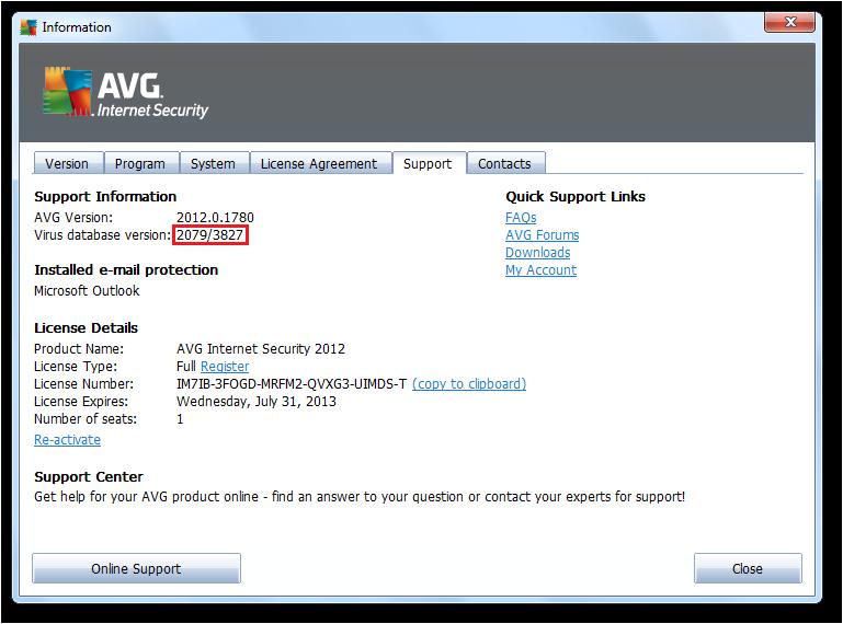 顯示 AVG 2012 病毒庫版本