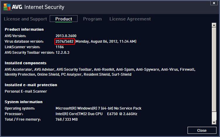 顯示 AVG 2013 病毒庫版本