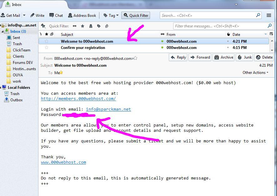 000webhost 受信されるメール:完了