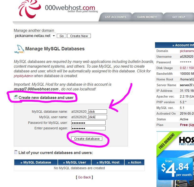 000webhost CPanel MySQL