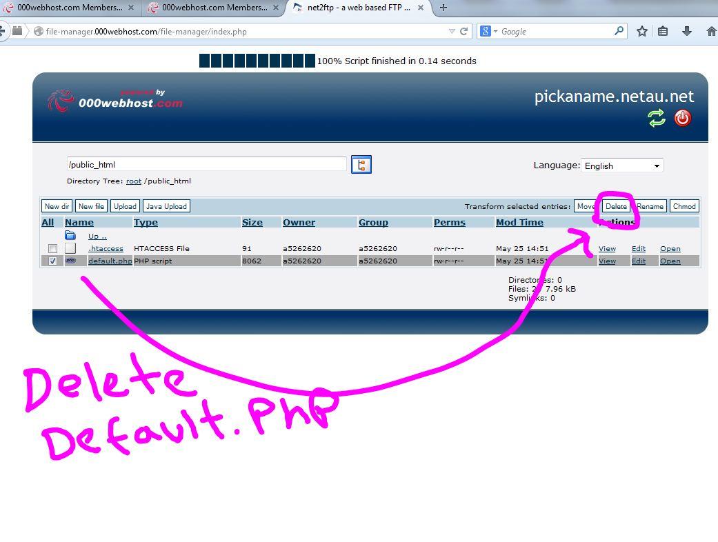 000webhost File Manager public html