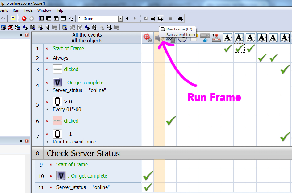 Clickteam : php online score フレームを実行