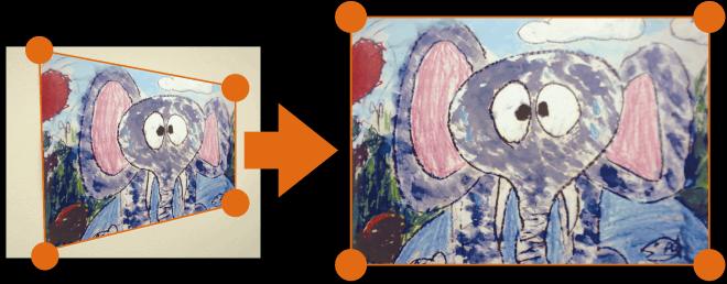 歪んだ画像もピタリと四角に修正できます