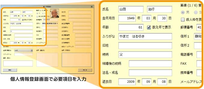 個人情報も登録して便利な家系図に