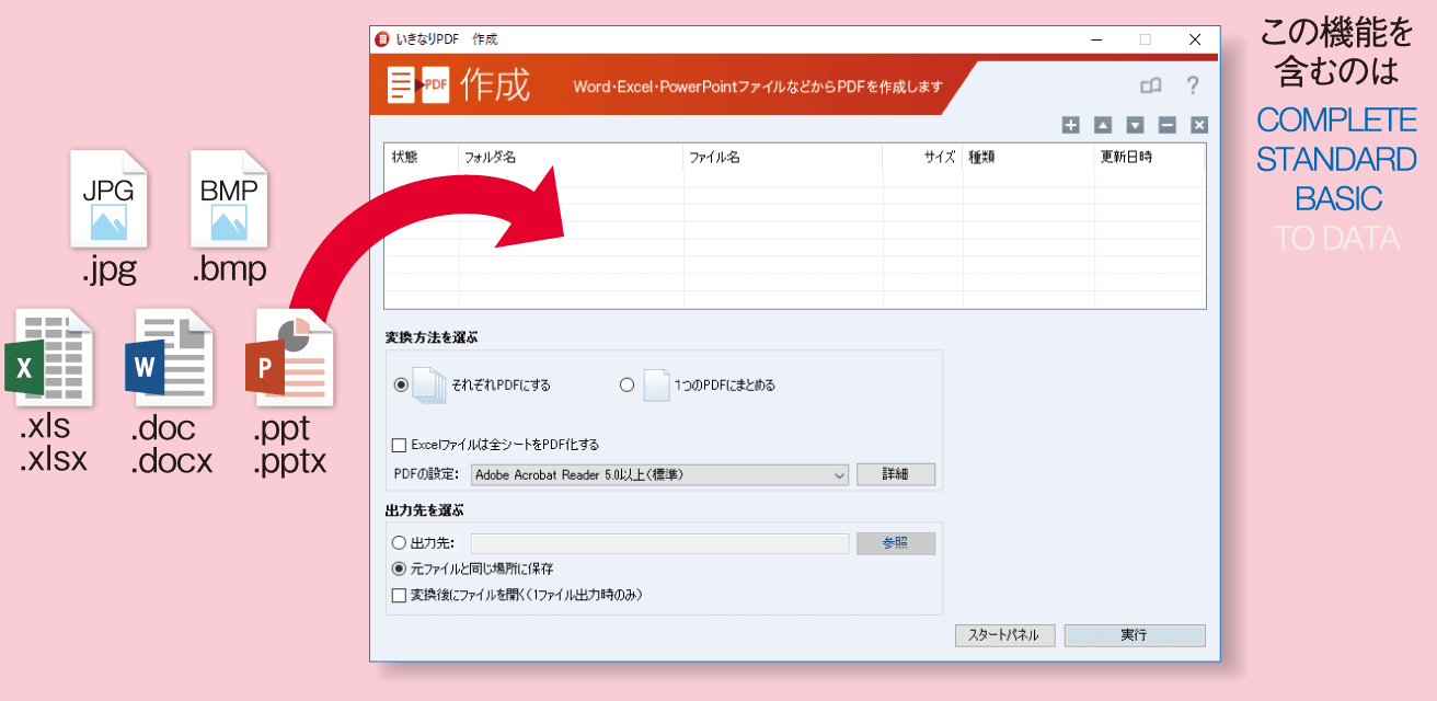 複数のファイルを、まとめてPDFに変換している画像