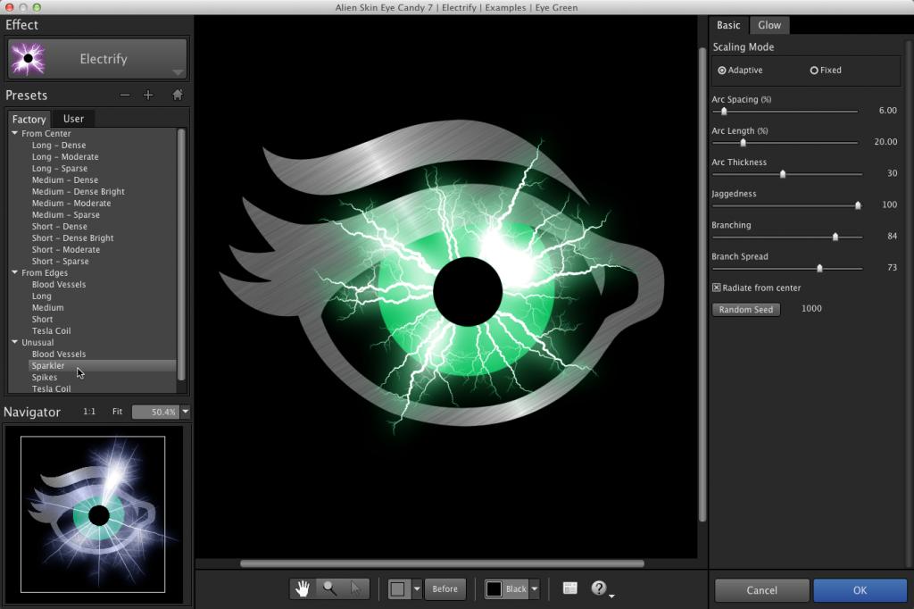 Eye Candy 7 ユーザー インターフェイス