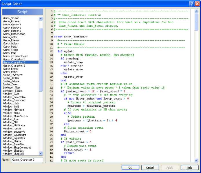 RPG Maker XP RGSS Scripting